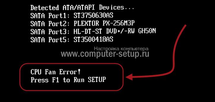 cpu fan error при загрузке